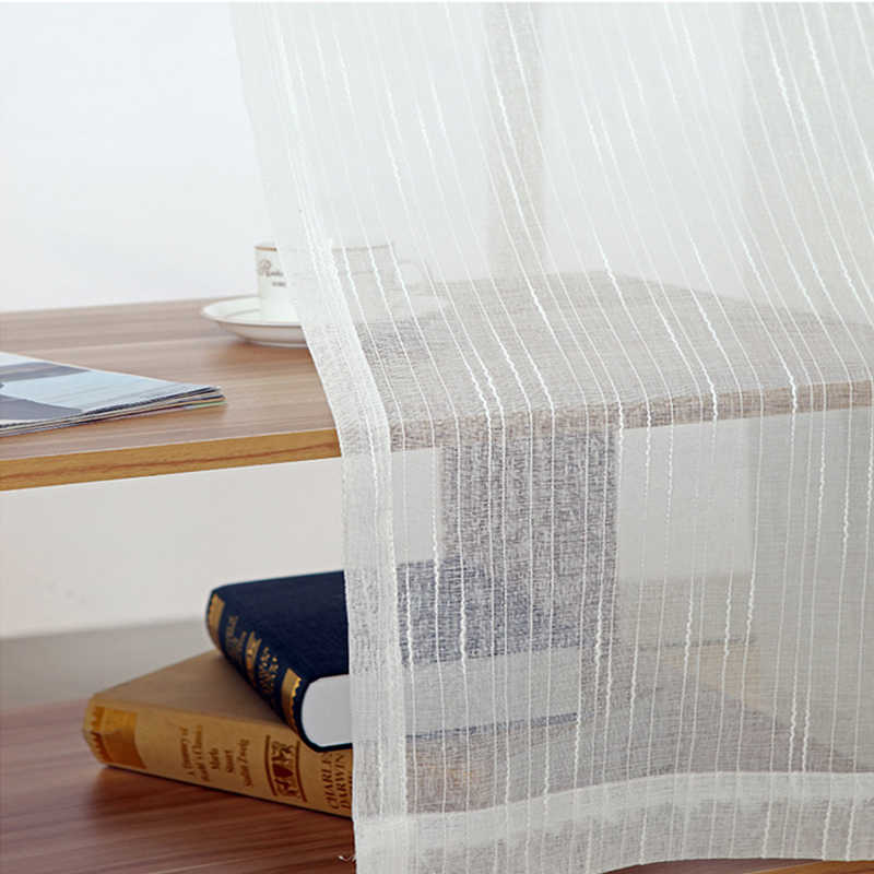 White All-match Linen Stripe Window Screens Sheer Curtains For Living Room Tulle Modern Voile for Bedroom Balcony Yarn Decor