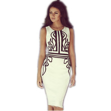 2016 Summer Style Women's Dresses Elegant Print Dress Women Work Wear Slim Bodycon Bandage Dress OL Midi Pencil Office Dress