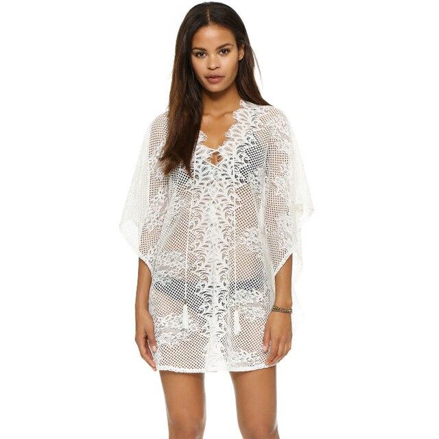 Crochet Beach Cover Up For Women Hollow Beachwear Sexy Bikini Dress