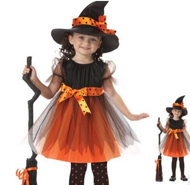 Girls 1 Vestido + 1 sombrero de Bruja cap Partido de La Princesa Vestidos Del Tutú Del Bebé Niños Ropa de carnaval de halloween Cosplay HB2006