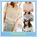 10pcs/lot+Fashion Womens Ladies Lace Hollow Crochet Knit Cape Shawl Tank Top Vest Jumper Pullover ax106 Free Shipping