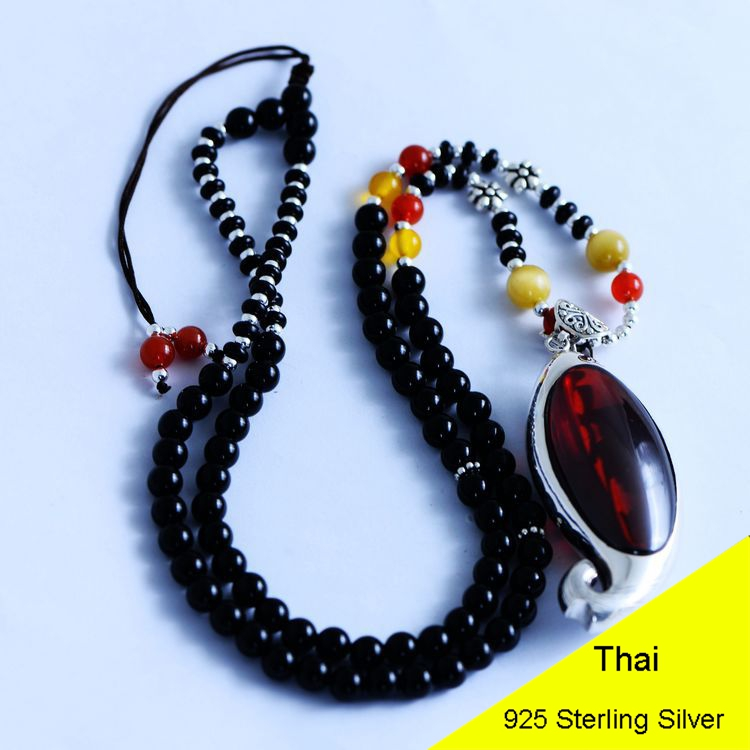 925 Sterling Silver Women Obsidian Beads Pendant Necklace Rope Chain Garnet Fish Thai Silver Choker Jewelry CH057269 925 sterling silver women lapis beads yellow chalcedony peacock pendant necklace rope chain thai silver choker jewelry ch057272