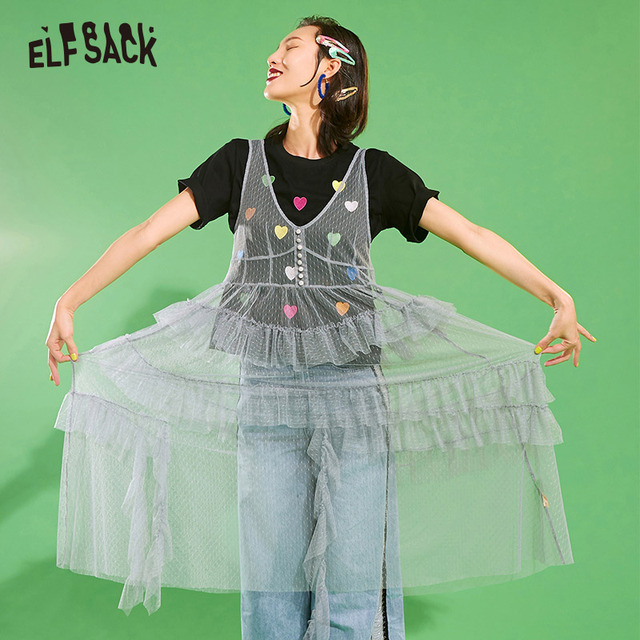ELFSACK Mesh Vintage V ausschnitt Taste Frauen Kleid Casual Rüschen Trim Strand Kleider Weibliche Lange Kleid Solide Süße Spitze Kleidung