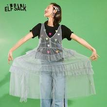 ELFSACK Mesh Vintage v yaka düğmesi kadın elbise rahat fırfır etekli plaj elbiseler kadın uzun elbise katı tatlı dantel giyim