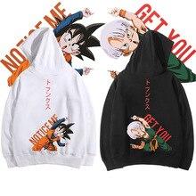 Fashion DragonBall Z Son Goten Goku Torankusu Pullover Hoodies Hooded Sweatshirt Casual Front Pocket Hoodie Sweethearts Top Coat front pocket single stripe pullover hoodie