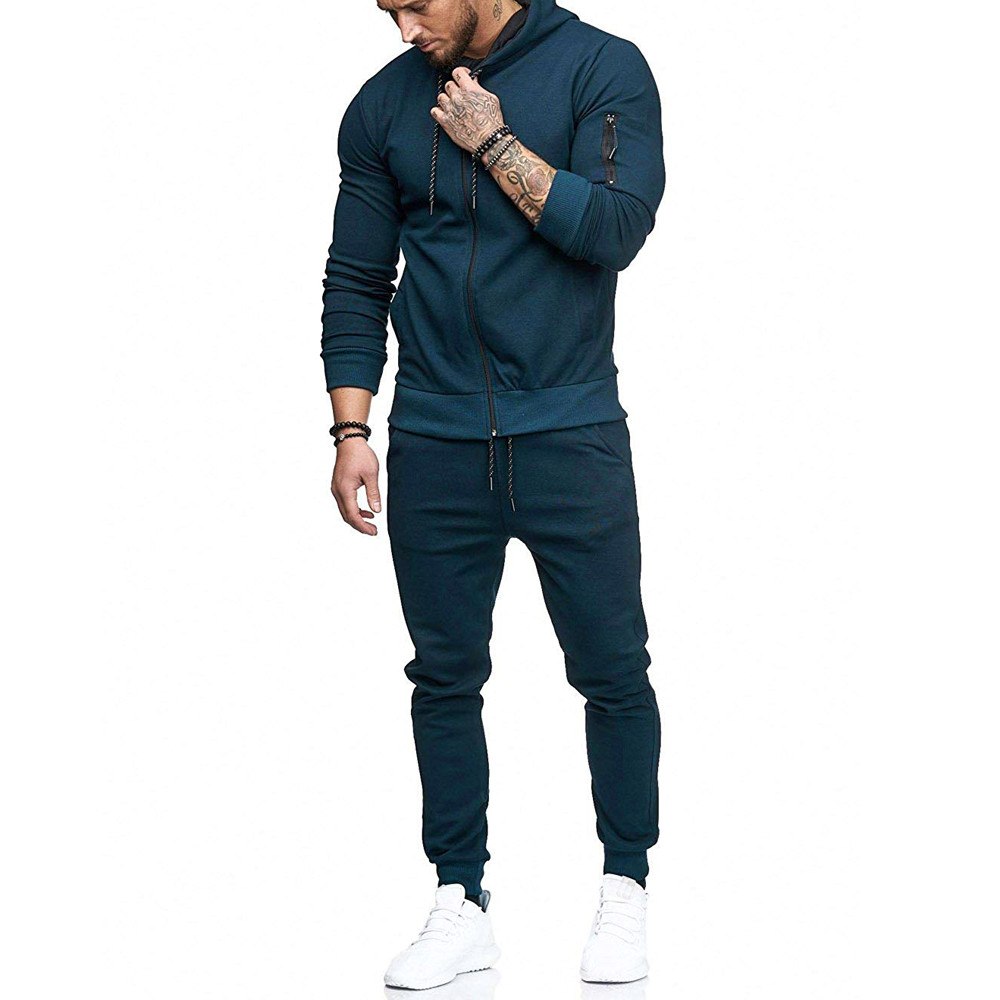 HTB1vGF9Kx1YBuNjy1zcq6zNcXXaZ 2019 fashion Patchwork Zipper Sweatshirt Top Pants Sets Sports Suit solid color slim Tracksuit High Quality Pullover clothing