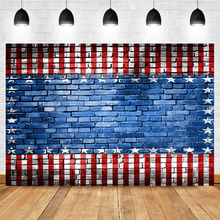 NeoBack American Flag Brick Wall Photography Background Independence Day Photo Backdrop for Picture