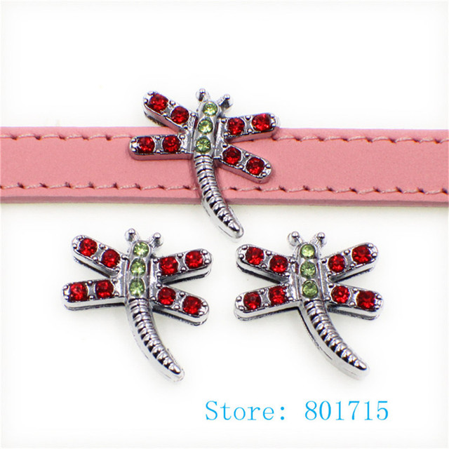 new arrival 10pcs 10mm colorful Rhinestone dragonfly Slide Charms Fit 10mm  Pet Collar DIY Necklace   Bracelet keychains SL503 2832a2ed1b07
