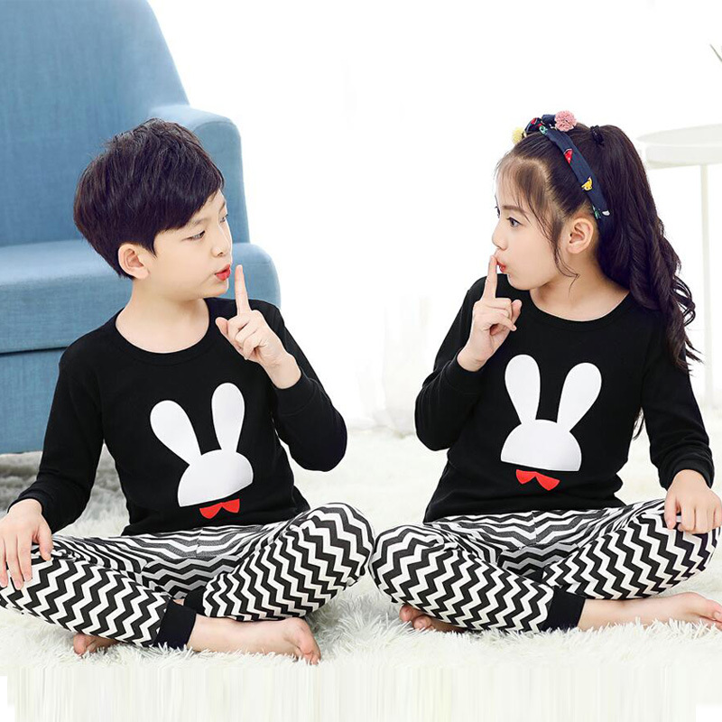 New Autumn Cartoon Pajamas For Girls Boys Children's Pajamas Long-sleeves Cotton 2pcs Pyjamas Set Baby Clothes Kids Sleepwear(China)
