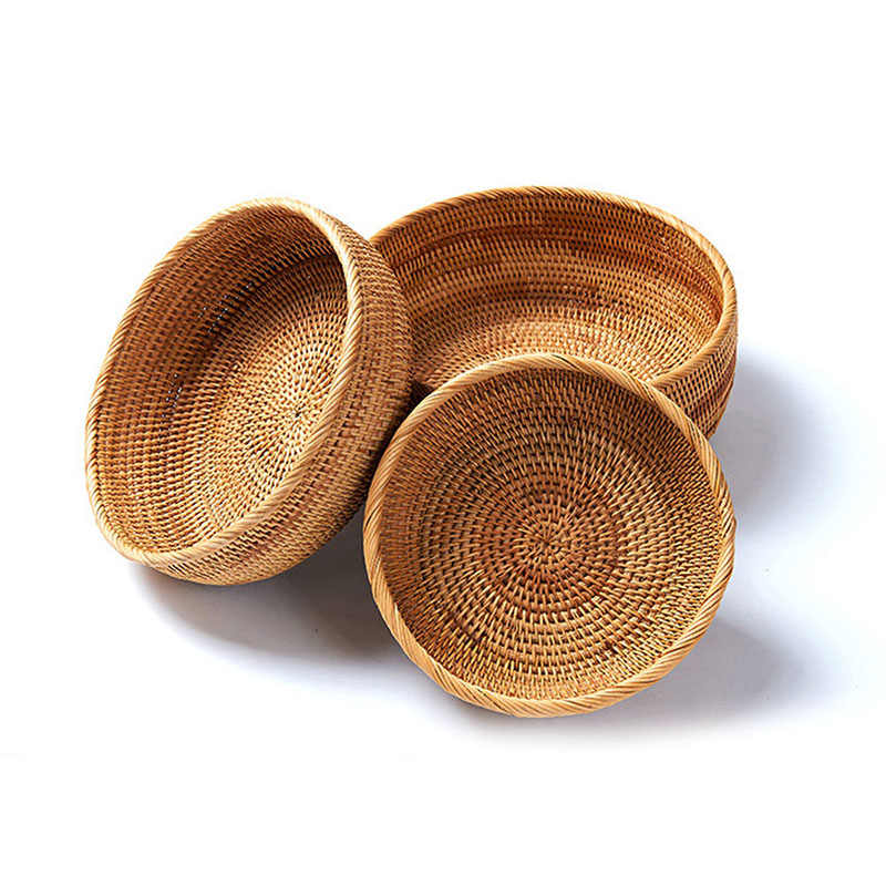 Natural Rattan Storage Tray Round Type Fruit Plate Fruit Handmade Weave Storage Basket Small Items Display Tray