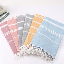 Striped Cotton Turkish Sport Bath Towel with Tassel Travel Gym Camping Bath Sauna Beach Gym Pool Blanket Absorbent Easy Care D35 цена и фото