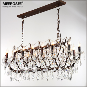 Vintage Iron Chandelier Retro Rustic Hanging Drop Light Fixture American Style Crystal Suspension Lamp for Foyer Living Room