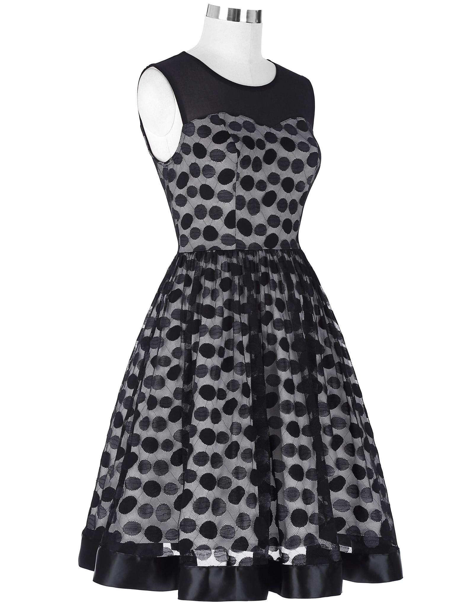 52018 summer dress women Retro 50s 60s Vintage Sleeveless Mesh Fabric Polka Dots Party a line Dress elegant ladies vestiods