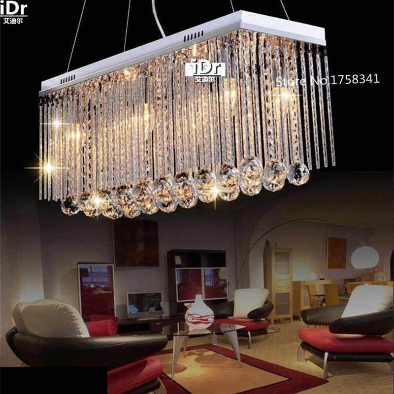 Rectangle Luxury lamp Crystal Pendant Light Fitting Crystal chandelier ceiling suspension lamp for dining room bedroom
