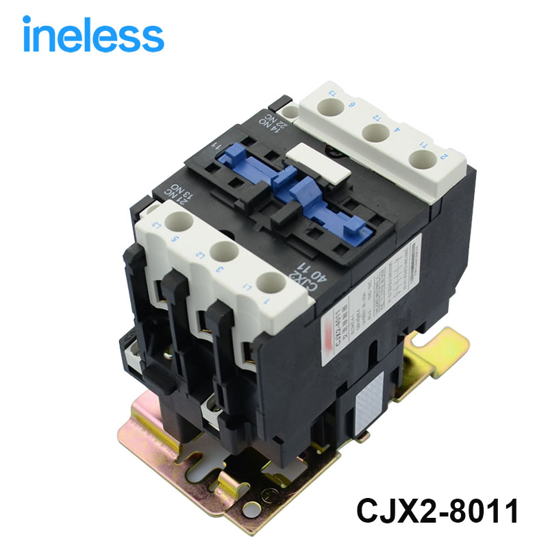 DIN Rail Mounted 3P 3 Poles 380V Coil 80Amp AC Contactor CJX2-8011