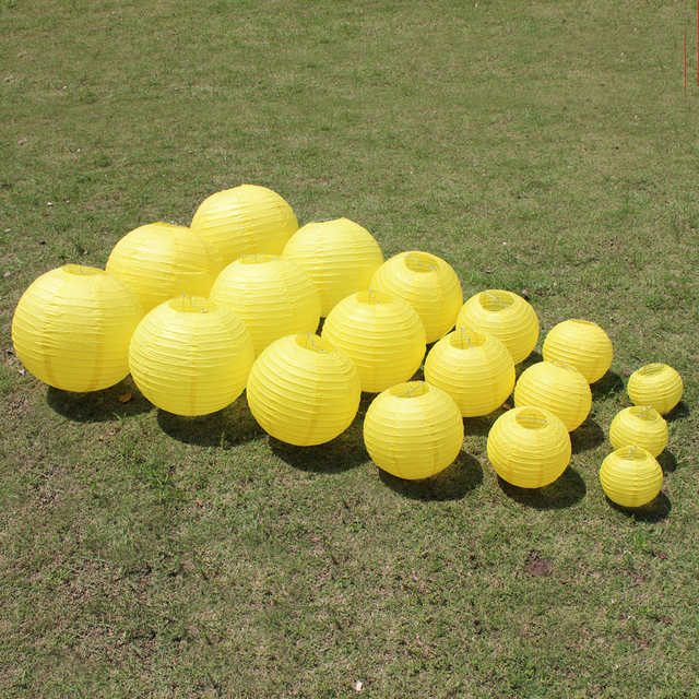 10 Pieces 6-8-10-12-14-16 Inch Beautiful Lemon Yellow Chinese Paper Lanterns For Birthday Party and Wedding Decoration