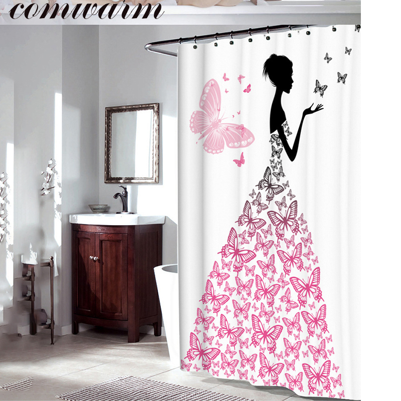 Comwarm Romantic Pink Cartoon Butterfly Dress Wing Pretty Girl Printed  Waterproof Polyester Bathroom Shower Curtain With