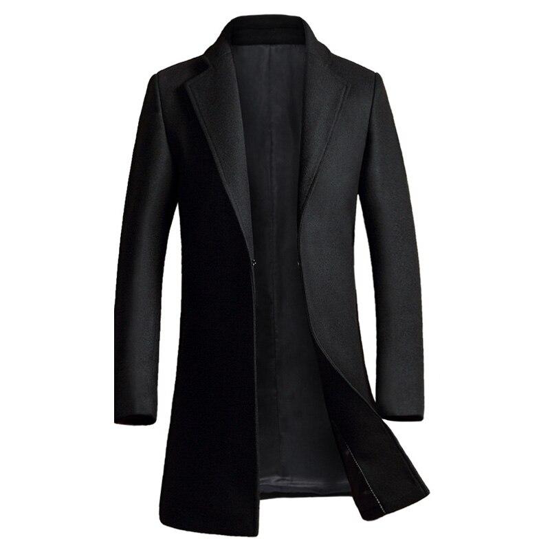 Кашемировое пальто Для мужчин 2017 Новинка зимы длинные шерсть пальто Slim Fit Для мужчин S бушлат куртка Повседневное манто Homme модные пальто