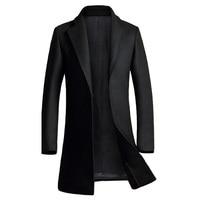 Cappotto di cachemire Degli Uomini 2017 Nuovo Inverno Lungo Misto Lana Cappotto Slim Fit Uomo Pea Coat Jacket Casual Manteau Homme Moda soprabito