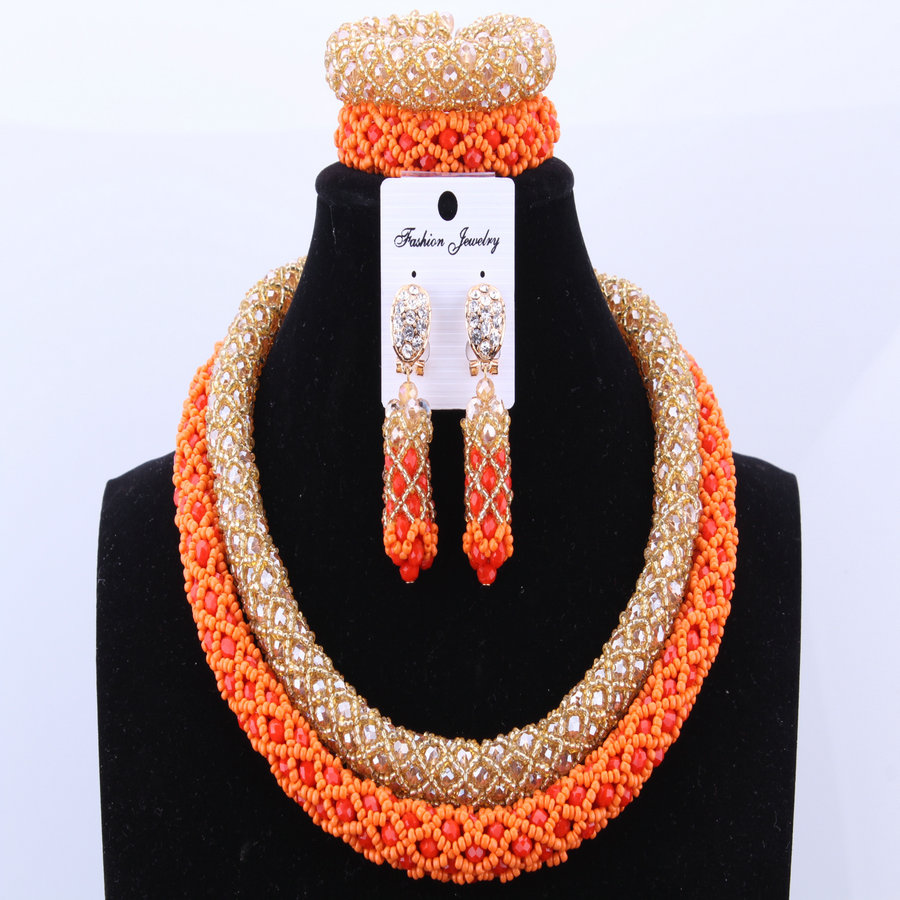 Elegant African Bridal Jewelry Sets Crystals Beads India Necklace Set Nigerian African Wedding Beads Jewelry Sets
