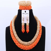 Elegant African Bridal Jewelry Sets Crystals Beads India Necklace Set Nigerian African Wedding Beads Jewelry Sets Birthday Gift