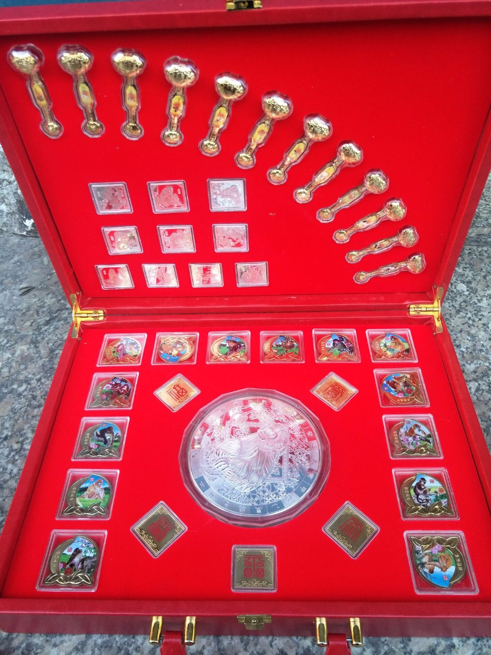Collection Chinese government-issued Monkey Year(2016) multicolour coin ,Monkey,44 piece(Set)