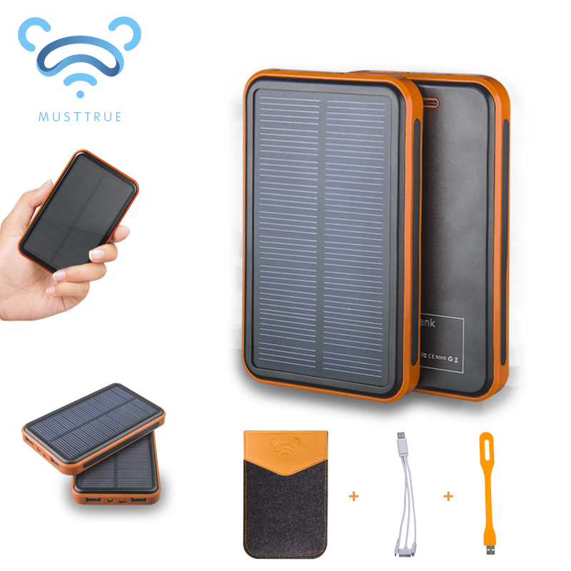 MUSTTRUE Super Solar Charger waterproof powerbank backup Power Bank bateria external Portable For all Cellphone mobile