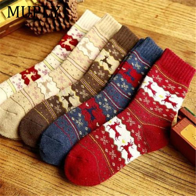 1pair Winter Women Socks Warm Wool Christmas Mid-calf Socks Woolen Snowflake Deer Comfortable Gift