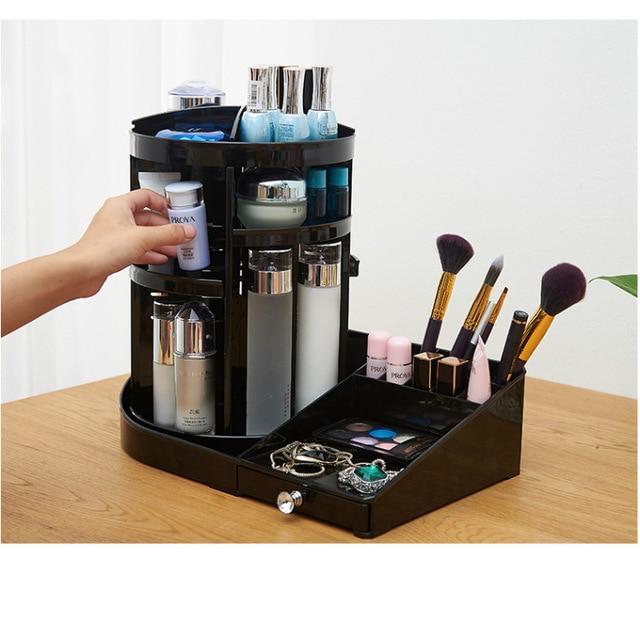 360 Degree Rotate Makeup Organizer Plastic Storage Box Cosmetic Make Up Case Jewelry Box Lipstick Brush Holder Storage Boxes