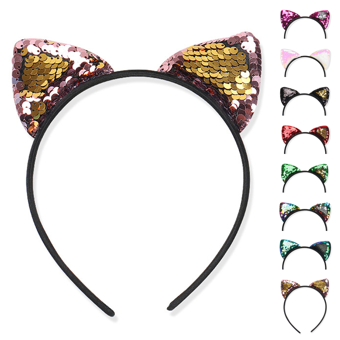 Headwear New flip sequin cloth cat ears headband Childrens holiday Sexy  Women Hair Accessories