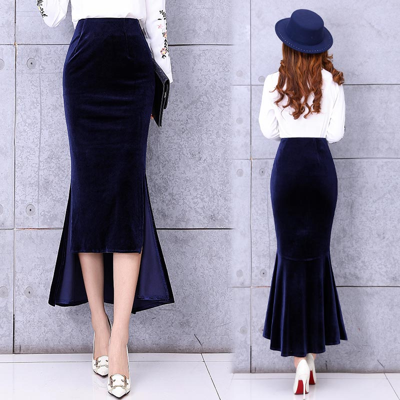 Free Shipping 2019 High Waist Long Maxi High Low Skirts For Women Plus Size S-2XL Mermaid Style Skirts Spring And Autumn Velvet