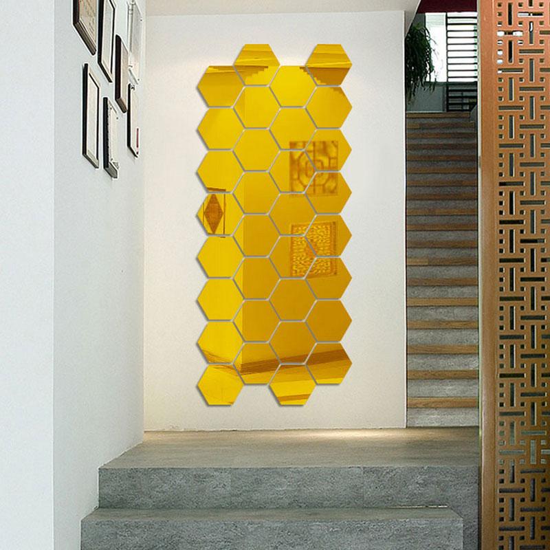 7 Piece Hexagon Acrylic Mirror Wall Stickers DIY Art Wall Decor Wall ...