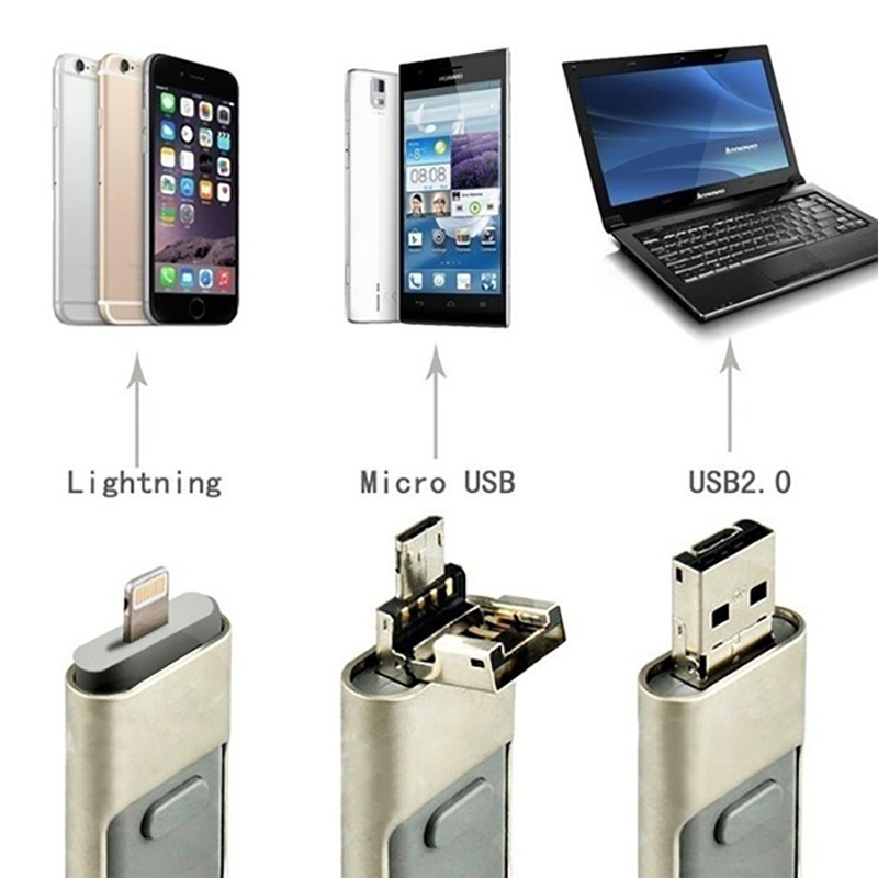 USB 3.0 Flash Drive Pen Drive 128g 32g 64g Android OTG Pendrive For  Micro Iphone Sony Samsung U Disk 3 In 1 Memory Stick USB