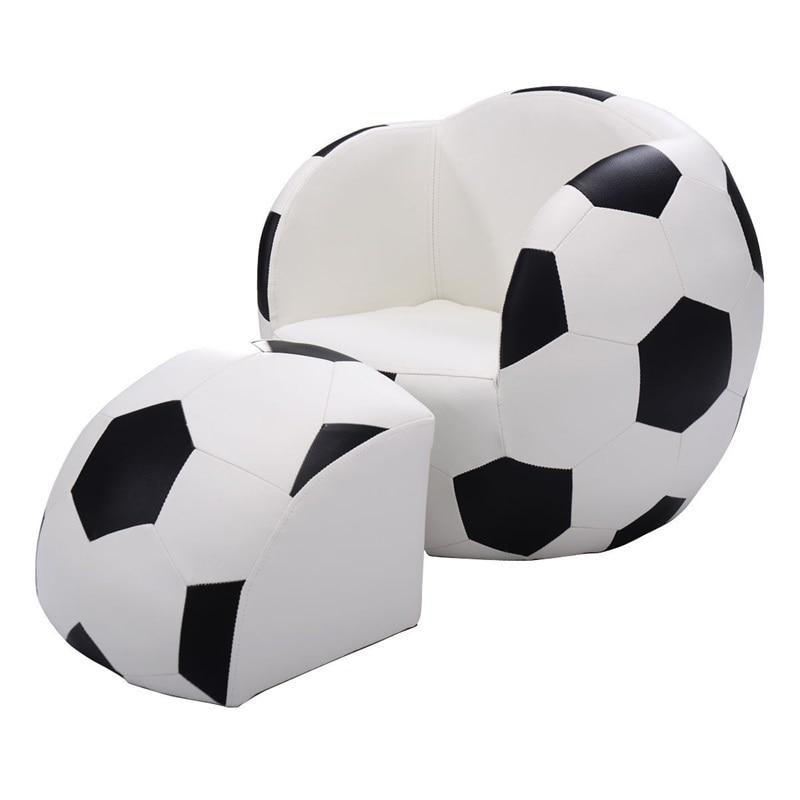 Football Shaped Kids Sofa Couch With Ottoman Black White Children's Sofas Set HW54193