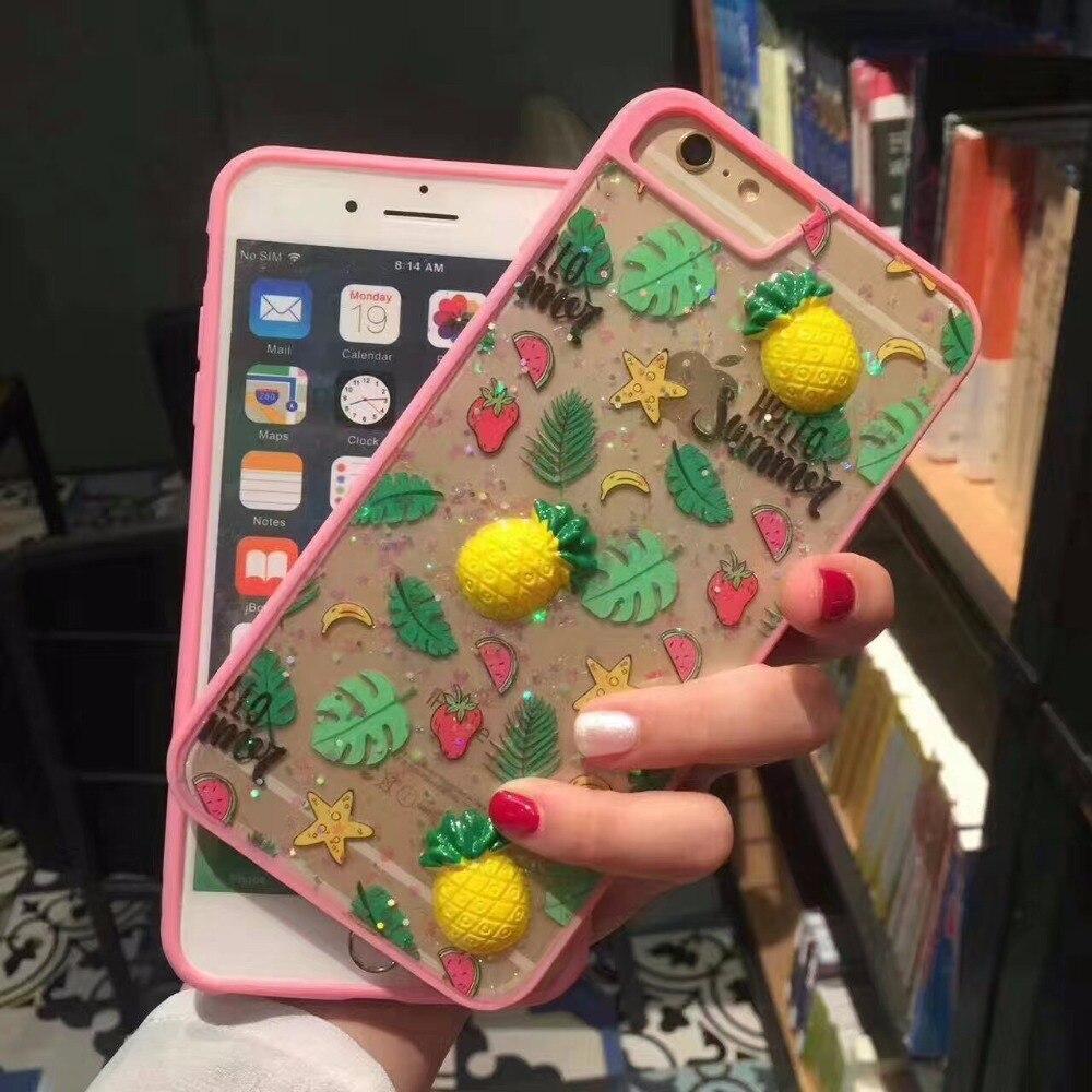 Роскошные мягкий bling силиконовые 3D рельефная печать стерео чувство <font><b>Smart</b></font> фруктов чехол для iphonex 8 7 7 плюс 6 6S плюс телефона