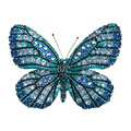 vivid blue butterfly brooch pins copper with cubic zircon bling bling romantic fashion women jewelry free shipping insect