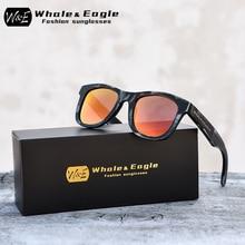 Whale&Eagle Bamboo Wood Polarized Sunglasses Fashion Sun Glasses for Men Women Red Cool Coated Lens Handmade Brand UV400