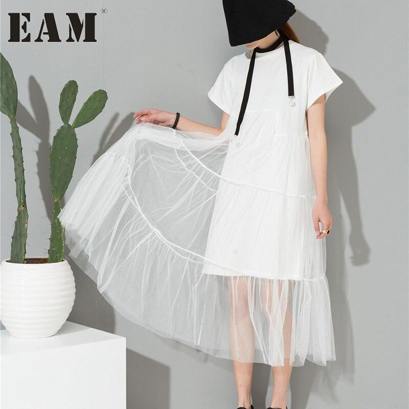 [EAM] 2018 весна свободные прямые с короткими рукавами шею сладкий сращены Марли белый платье женщина 3360