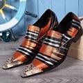 Diseñador de la marca de Moda de Cuero Genuino Hombres Zapatos de Vestir Zapatos Formales de La Boda Italiana Imprimir Hombres Oxford Zapatos Planos de Los Hombres Más Tamaño