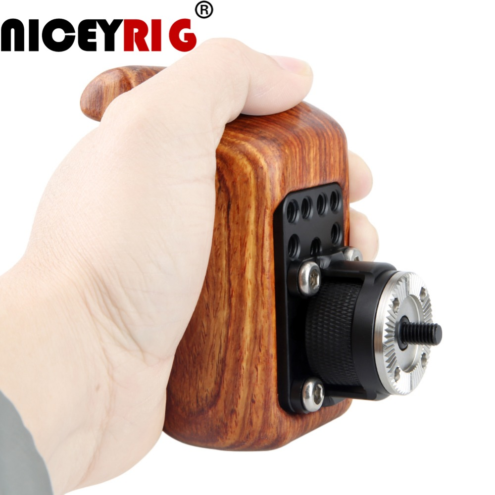 NICEYRIG (Left Hand) Wooden Handle Grip With ARRI Rosette For Sony Nikon Canon Camera Cage Shoulder Rig DJI Ronin Stabilizer Rig