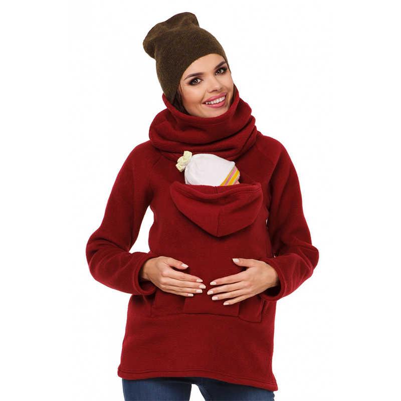 ผ้าฝ้ายอบอุ่น Baby Carrier Maternity ฤดูใบไม้ร่วงฤดูหนาวการตั้งครรภ์แม่ Kangaroo เสื้อกันหนาว Coat S-XXL 3 สี