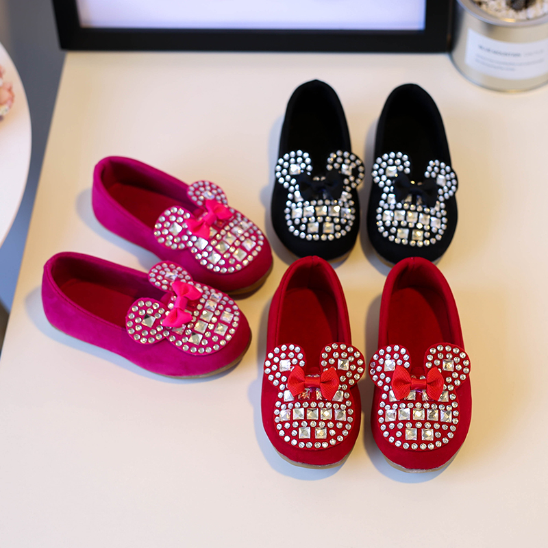 Princess Girls Shoes Kids Shoes 2017 New Spring/Autumn Cartoon Diamonds Fashion Baby Girls Shoes Child Soft Dance Shoes EU 21-30