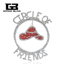 Awesome Rhinestone Jewelry to Fashion Ladies CIRCLE OF FRIENDS Word Pin with Hanging a Red Hat Charm  FREE SHIPPING