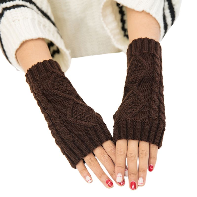 Women Girls Solid Color Winter Long Fingerless Gloves Rhombic Ribbed Knitted Wrist Mittens Student Writing Outdoor Arm Warmer Wi