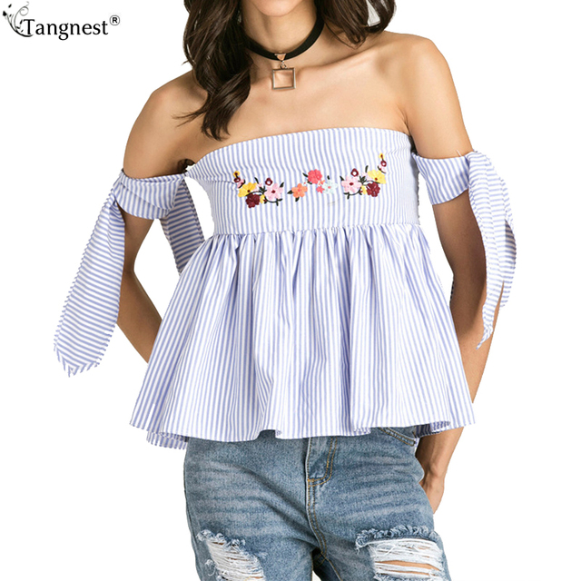 80893401e5 TANGNEST Slim Fitted Backless T Shirt Women 2017 Striped Slash Neck Off  Shoulder Women Crop Tops Summer Embroidery Tees WTN179-in T-Shirts from ...