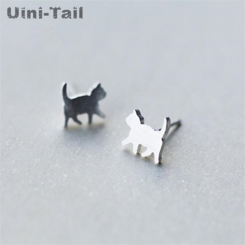 Uini Tail Hot New 925 Sterling Silver Cute Cat Earrings Simple Korean Student Personality Small Fresh Earrings Hypoallergenic Stud Earrings Aliexpress