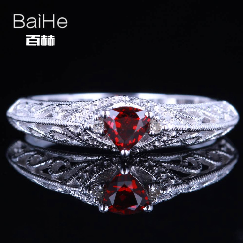BAIHE Sterling Silver 925 0.26CT Certified Trillion Flawless Genuine Garnet Engagement Women Office/career Fine Jewelry Ring