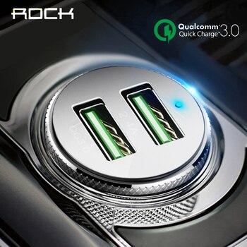 Cargador de coche ROCK QC 3,0 carga rápida Dual USB para iphone X 7 8 iPad Universal para Xiaomi Samsung Huawei carga rápida 5 V 3.4A
