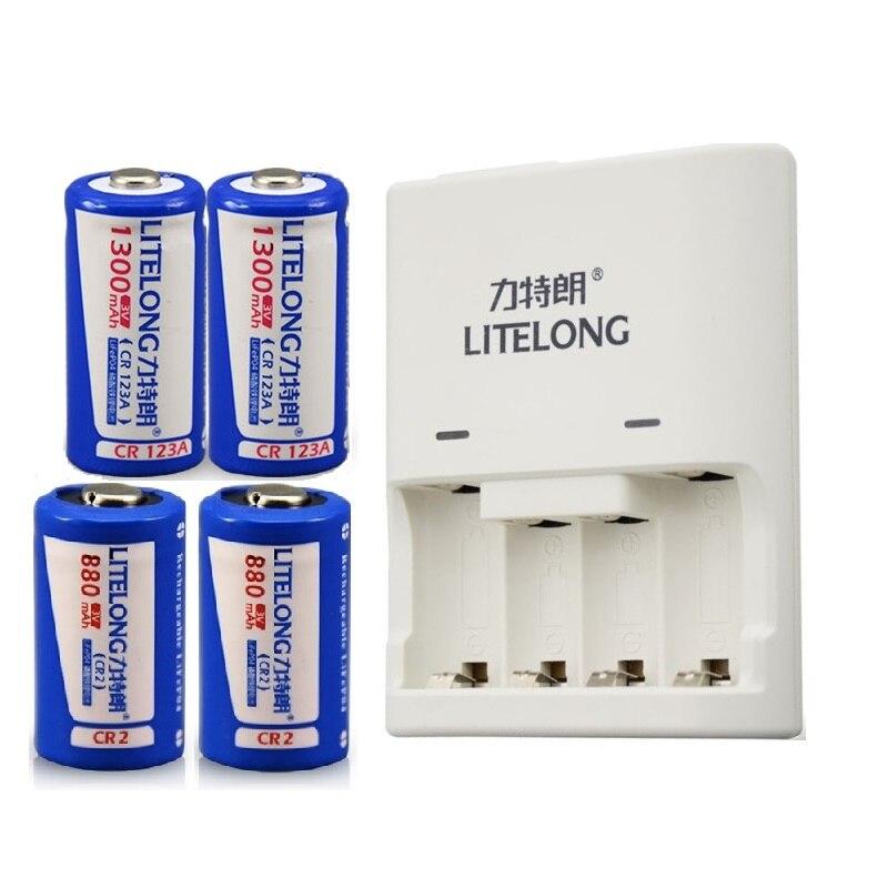 4 шт. (2 ШТ. <font><b>CR2</b></font> + 2 ШТ. CR123A) батарея 3 В <font><b>CR2</b></font> 880 мАч CR123A 1300 мАч аккумуляторные батареи LiFePO4 литиевая батарея с зарядным устройством