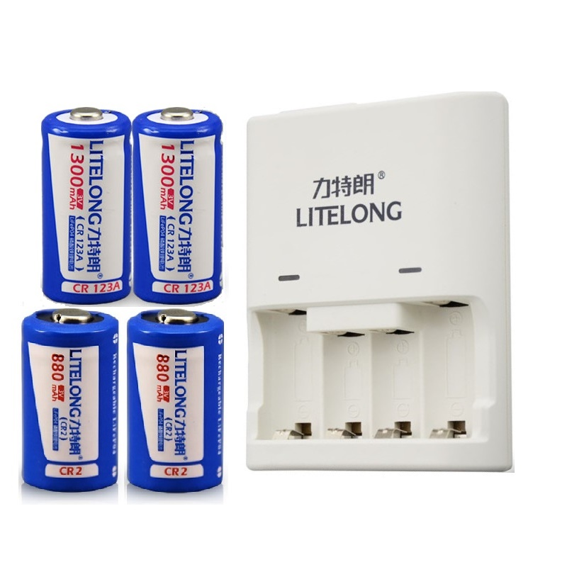 все цены на 4pcs(2PCS CR2+2PCS CR123A) battery 3v CR2 880mAh CR123A 1300mAh rechargeable LiFePO4 battery lithium battery with charger